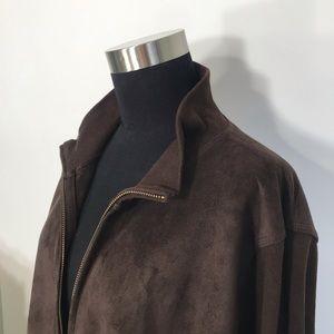 RALPH LAUREN Jacket, Faux-Suede, Brown, Full-Zip